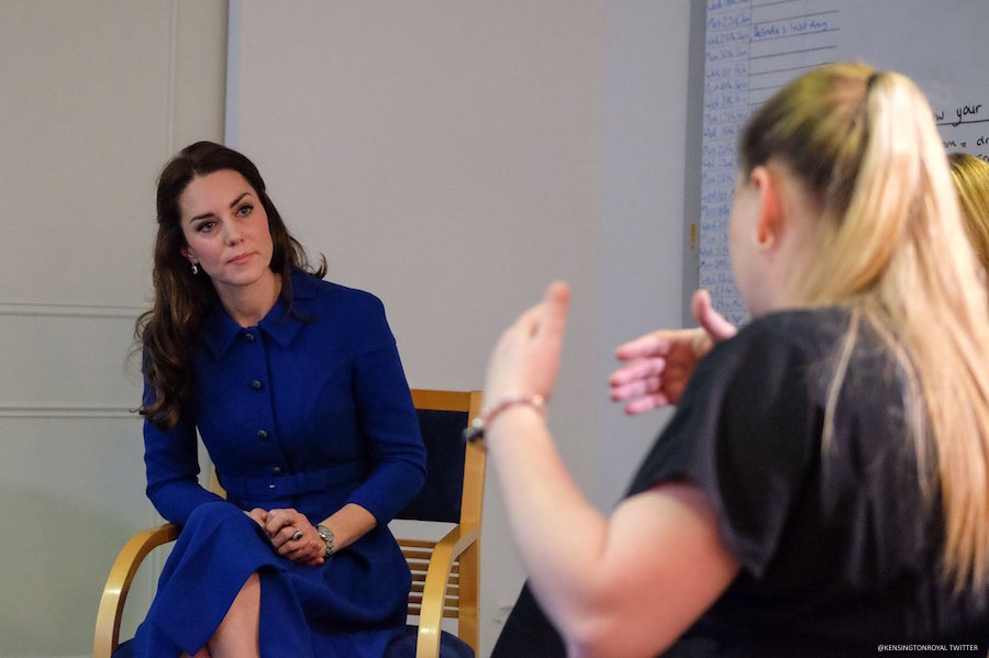 Kate Middleton chatting with staff and patients at the Anna Freud Centre