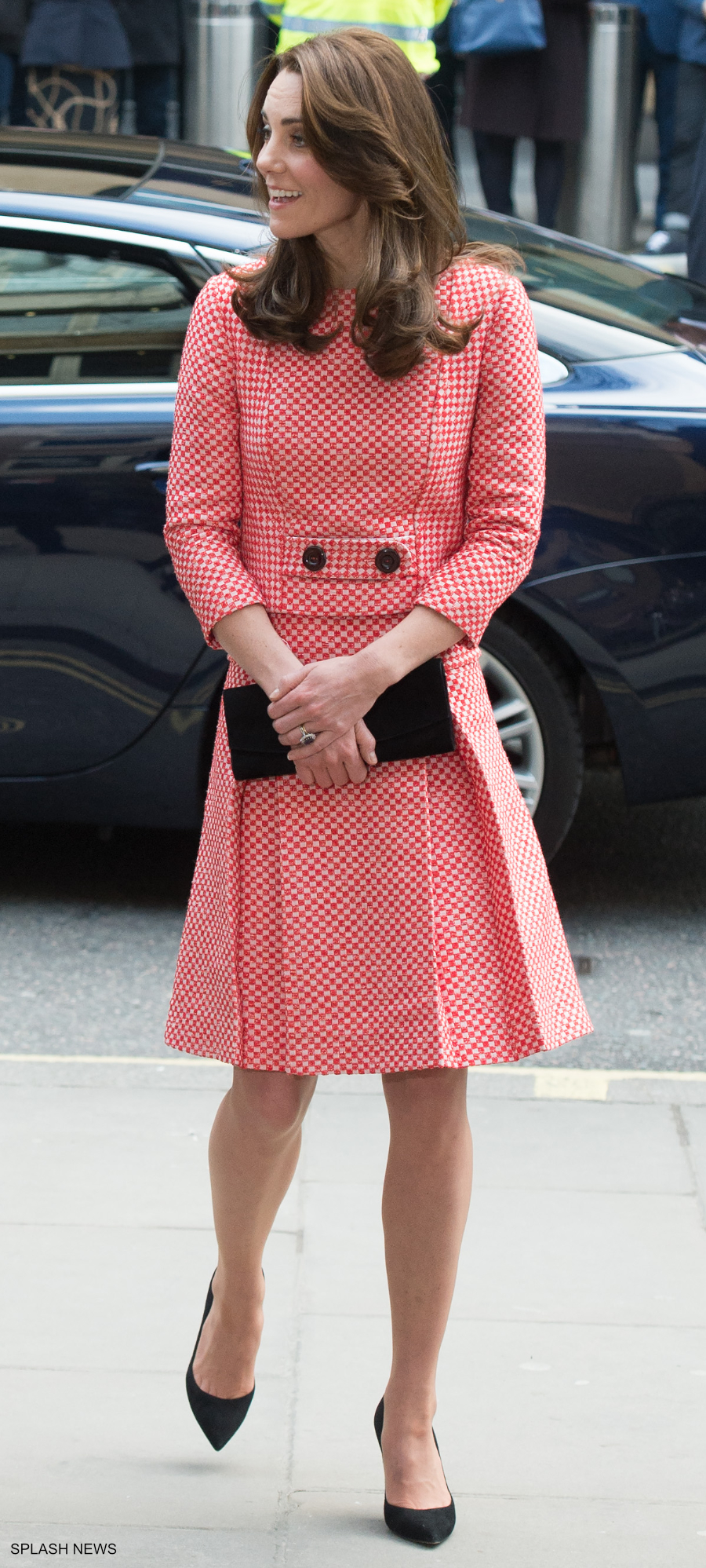 Kate Middleton visiting XLP London wearing Eponine London