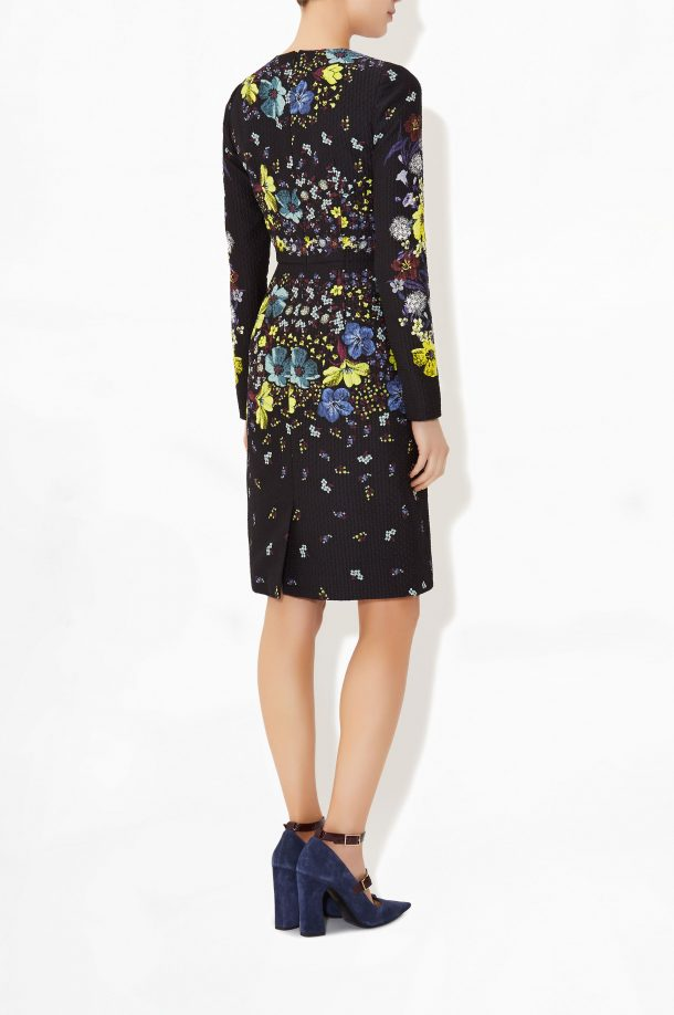 The back view of the Erdem Evita lily print dress