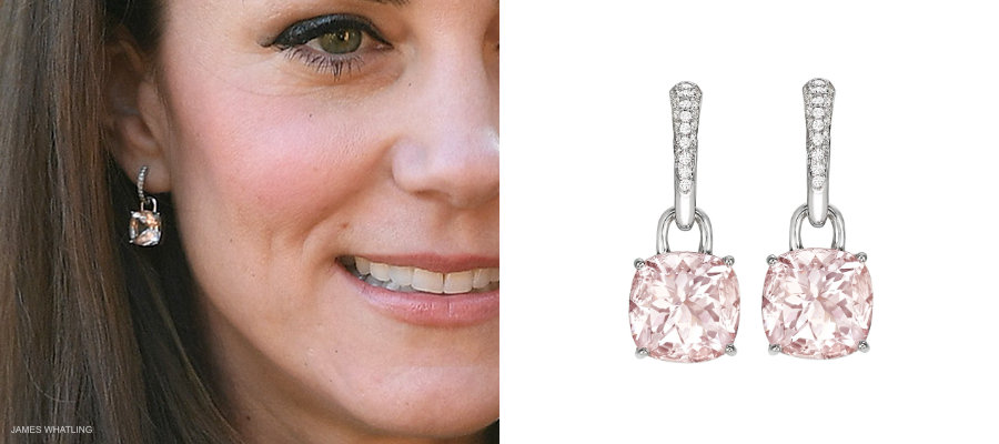 Kate Middleton's Kiki McDonough Classic Cushion earrings in Morganite pink