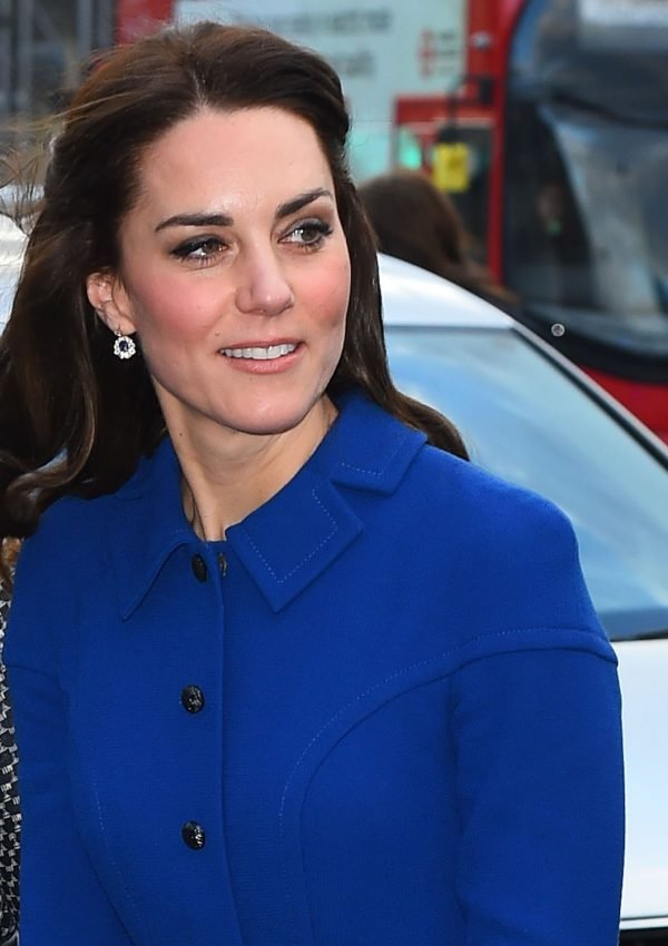 Kate wears blue Eponine London coat-dress in London