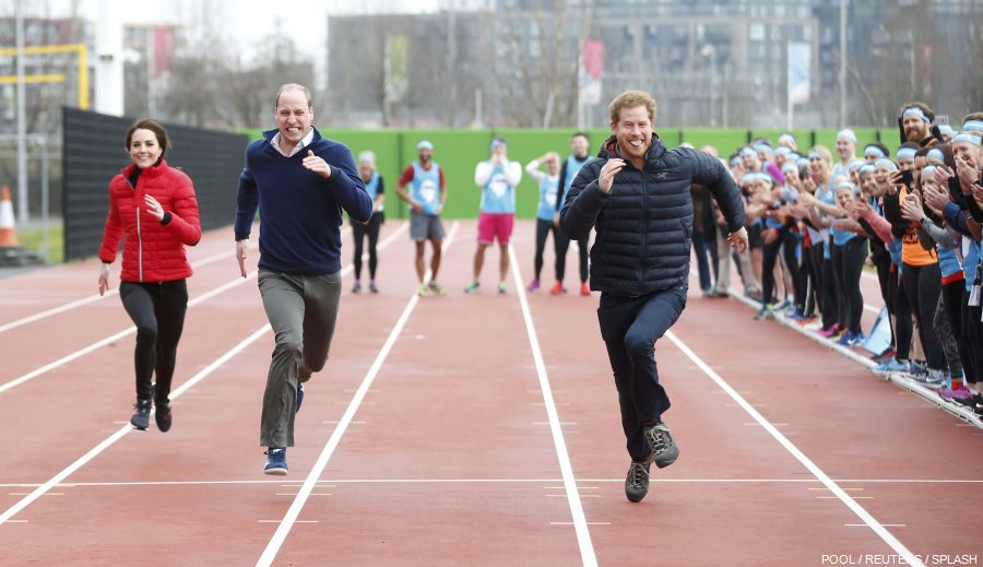 William, Kate and Harry racing at the Marathon training session