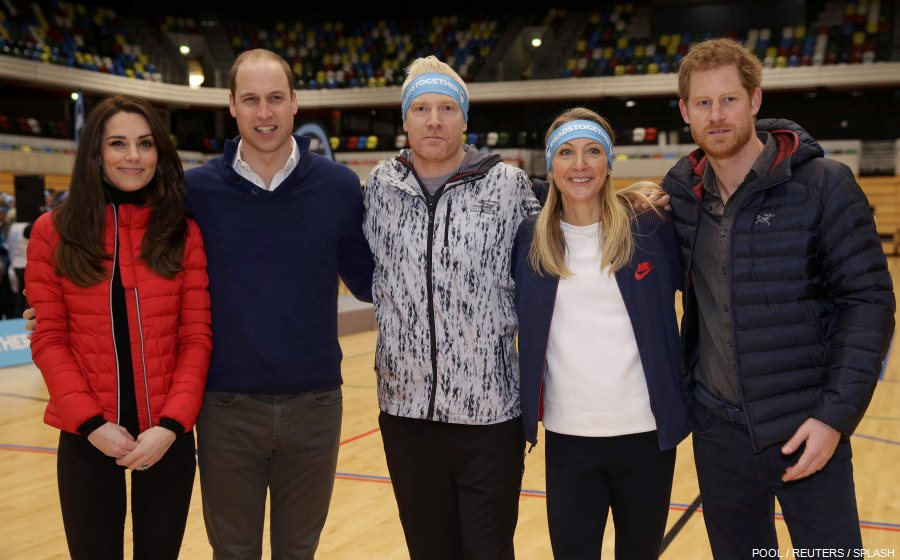 William, Kate and Harry meet Paula Radcliffe