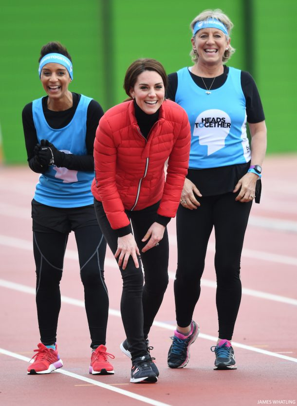 Kate Middleton wears New Balance trainers/sneakers during a marathon training day