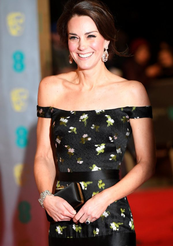 Kate wears an off-shoulder Alexander McQueen dress for the 2017 BAFTAs