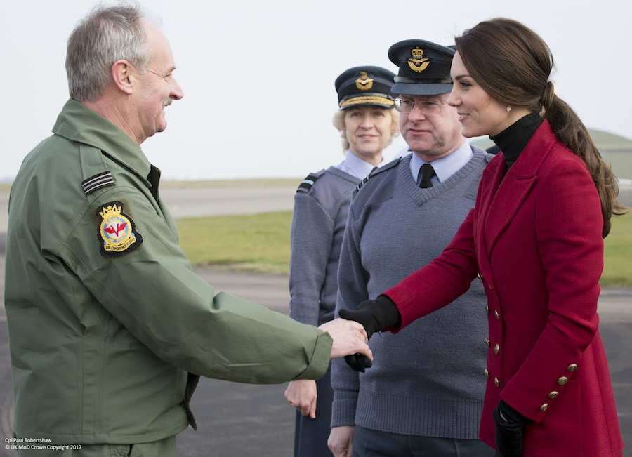 Kate Middleton meets with the RAF air cadets