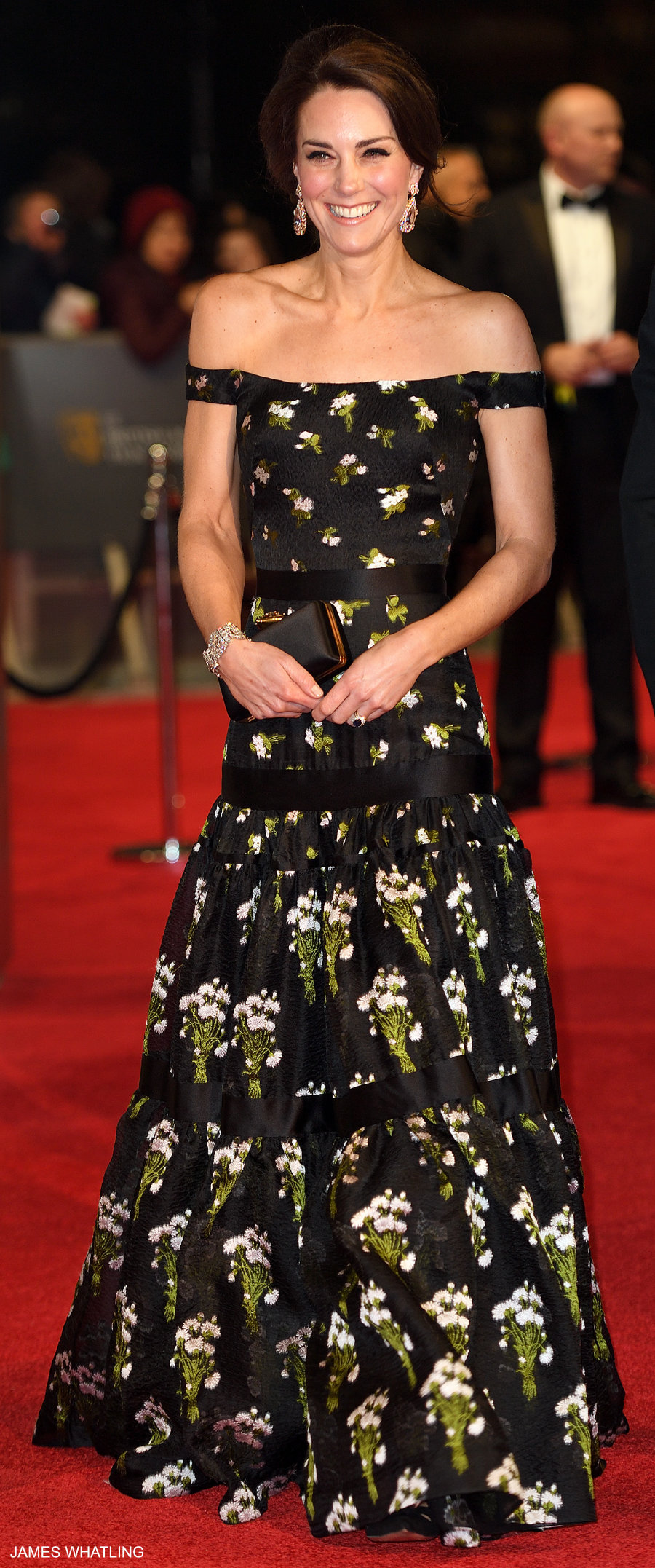 Kate Middleton wearing an Alexander McQueen gown at the BAFTAS