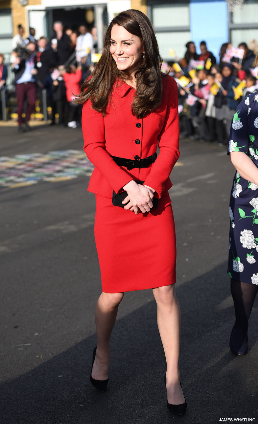 Kate Middleton wears her red Lisa Spagnoli suit
