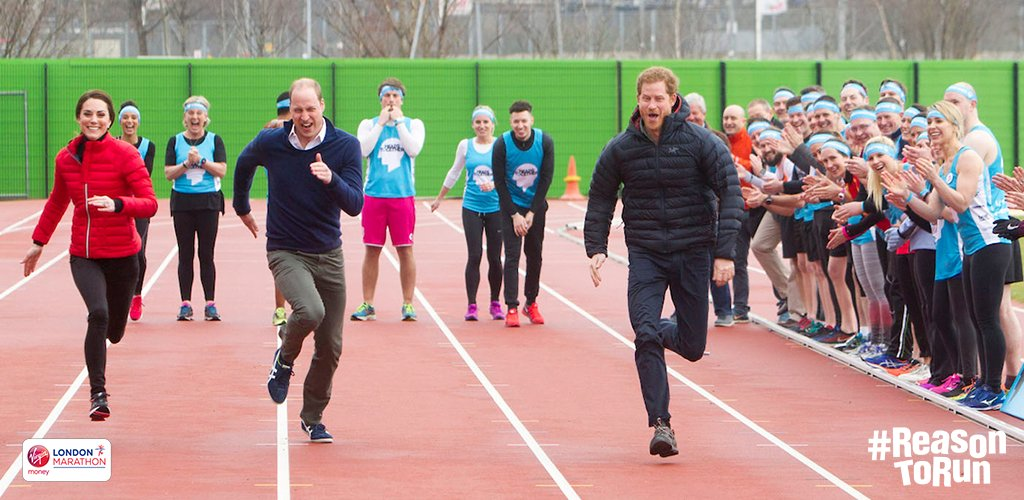 William, Kate and Harry running in the relay race