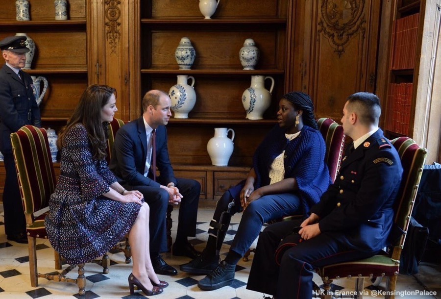William and Kate meet with terrorist attack survivors at Les Invalides