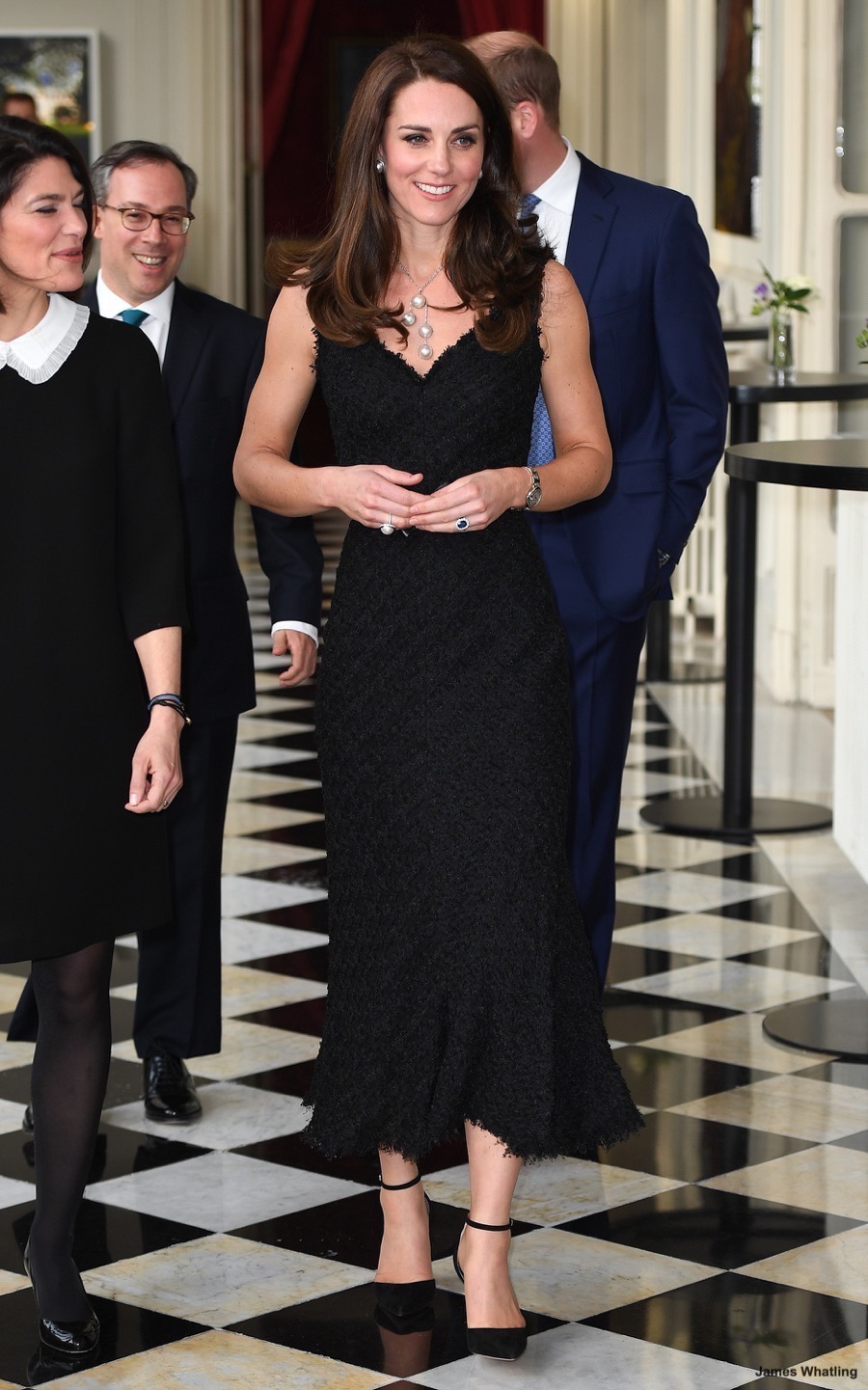 Kate Wears Black Alexander Mcqueen Dress To British