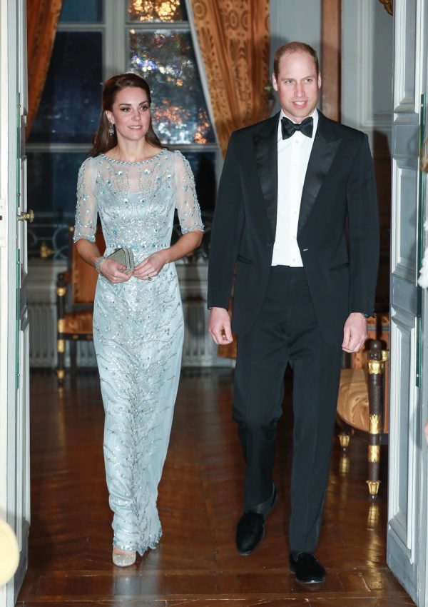 Catherine, Duchess of Cambridge and Prince William, Duke Of Cambridge arrive for a dinner hosted by Her Majesty's Ambassador to France, Edward Llewellyn, at the British Embassy in Paris, as part of their official visit to the French capital in Paris, France.