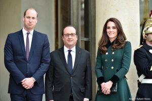 William and Kate meet President François Hollande in Paris