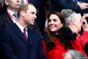 Prince William, Duke of Cambridge and Catherine, Duchess of Cambridge attend the RBS Six Nations match between France and Wales at Stade de France in Paris, France.
