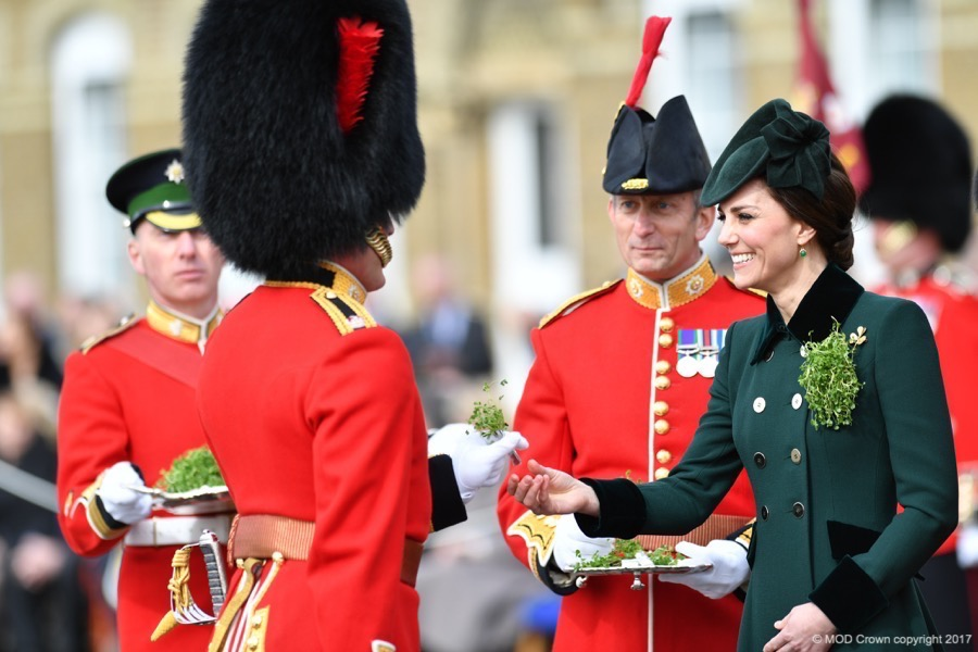 William and Kate hand out shamrocks to the Irish Guard to celebrate St Patrick's Day 2017