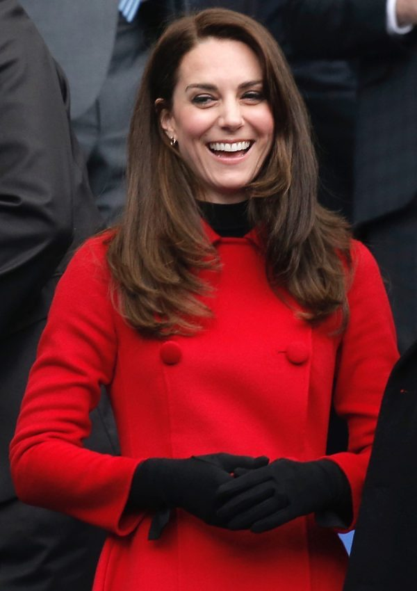 Kate repeats red Carolina Herrera coat for the France vs. Wales Rugby Match in Paris