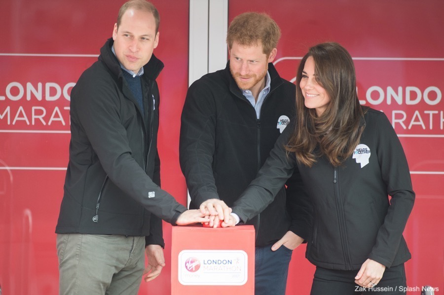 William, Kate and Harry at the London Marathon 2017