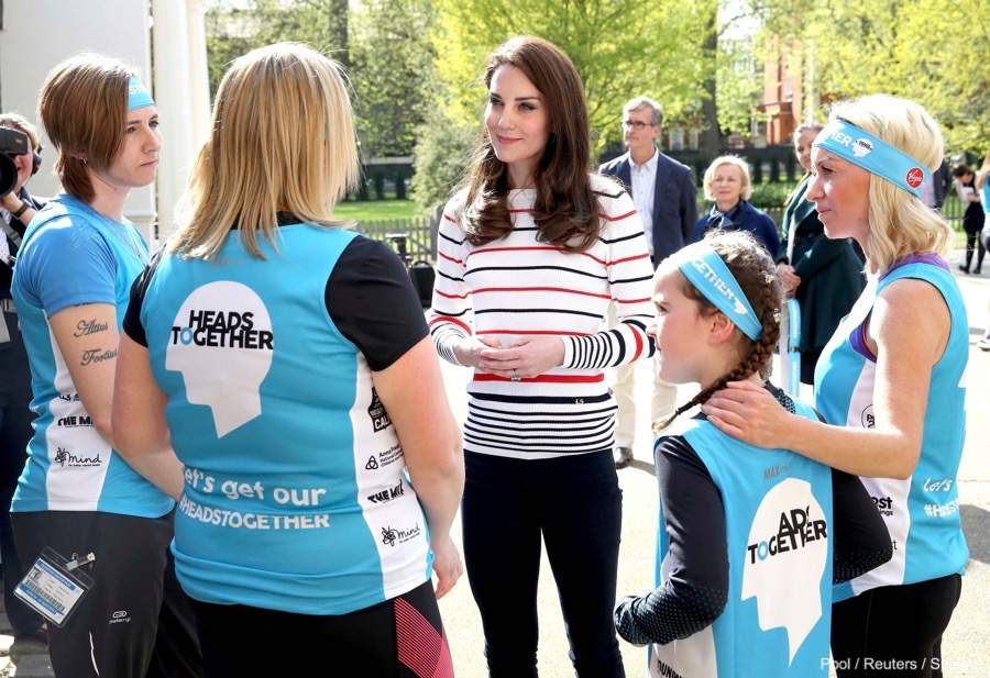 Kate Middleton speaks with Heads Together Runners ahead of the London Marathon