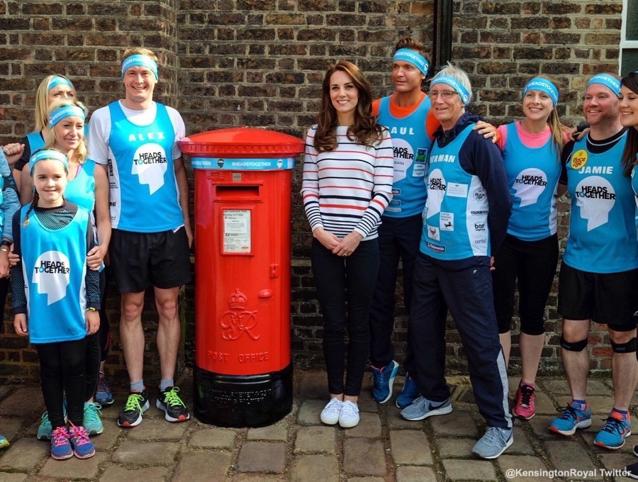On the 19th of April 2017, Kate hosted Team Heads Together runners at Kensington Palace to wish them luck with preparing for the London Marathon. She revealed one of around 70 Royal Mail post boxes that will be wrapped with Heads Together headbands on the London Marathon route.