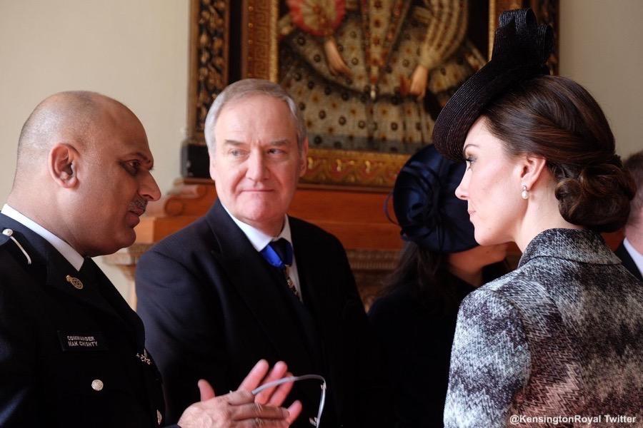 Following the service, William, Kate and Harry met with members of the congregation.