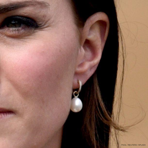 Kate Middleton wearing Annoushka pearl drop earrings