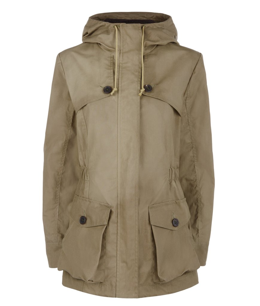 Troy London Wax Parka in Khaki Green
