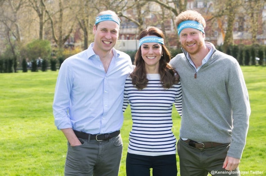 William, Kate and Harry in a promotional image for Heads Together, the London Marathon's 2017 Charity of the Year