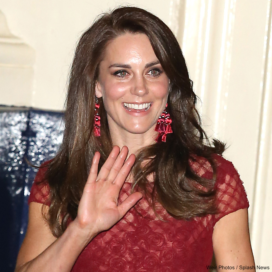Duchess of Cambridge, Kate Middleton leaving the Opening Night of the musical 42nd Street at the Theatre Royal Drury Lane in a red dress