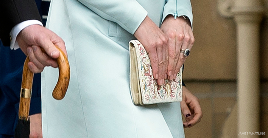 Kate Middleton at the Garden Party, carrying a clutch bag