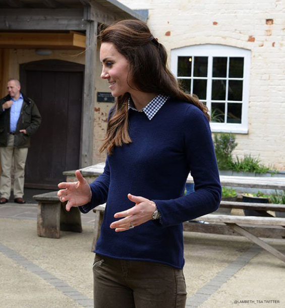 Kate Middleton wearing her blue JCrew sweater on the farm