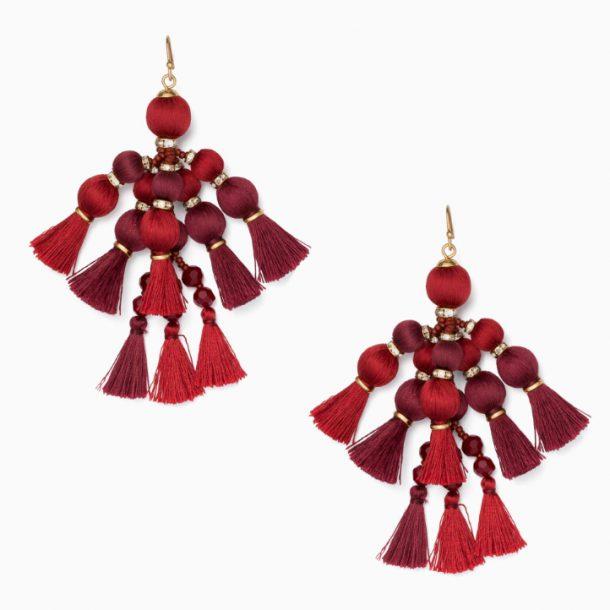 Kate Spade Pretty Pom Tassel earrings in Sumac