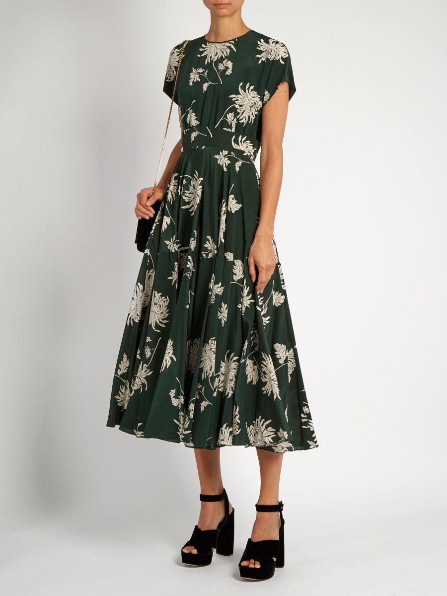 Rochas Green Dhalia printed Dress