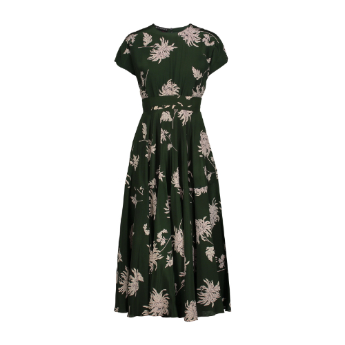 Rochas Floral Print Midi Dress. Rochas Green Floral Dress