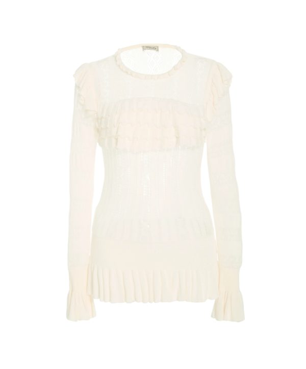 Temperley London Cypre Pointelle Frill Top