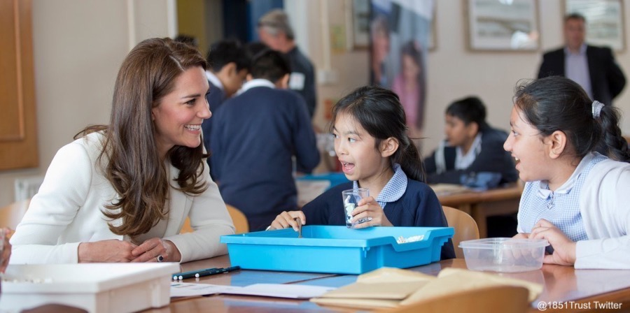 Kate Middleton taking part in the 1851 Trust Group Workshop