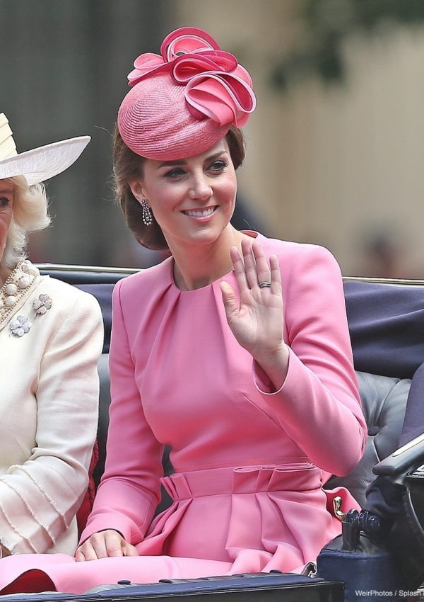 Kate Middleton wearing a pink dress at Trooping the Colour 2017