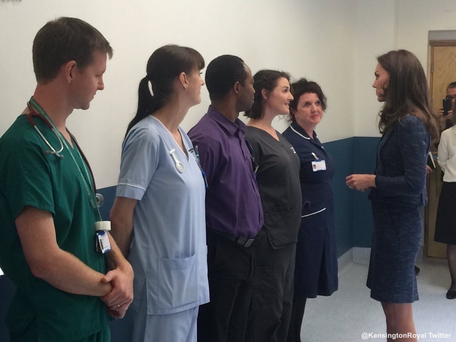 Kate Middleton meeting with staff from Kings College Hospital in London