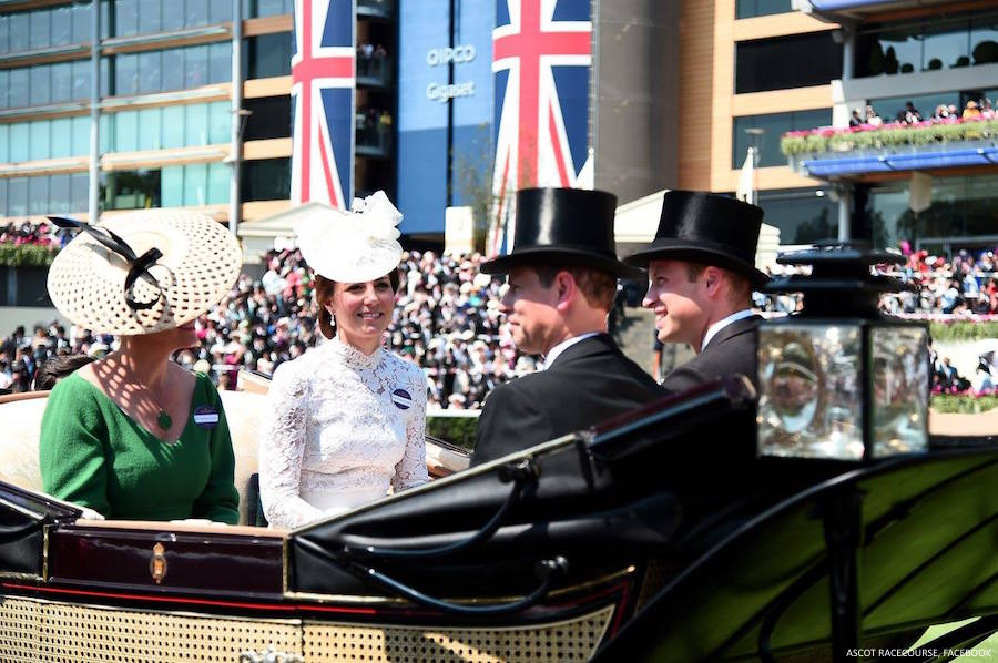 Kate in the carriage with Sophie, Countess of Wessex, Prince William, Duke of Cambridge and Prince Edward, Earl of Wessex.