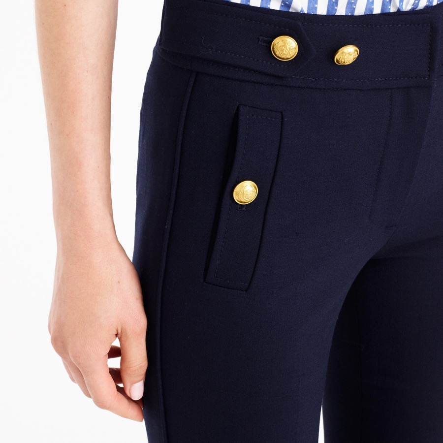 JCrew Sailor Pants - a closer look at the gold nautical style buttons