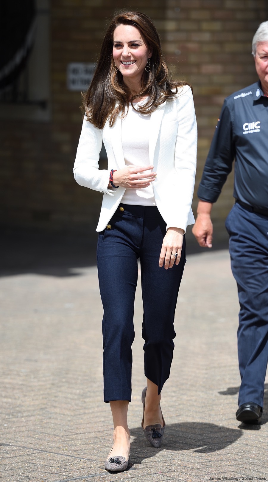 Kate Middleton wearing JCrew pants to the 1851 Trust Roadshow