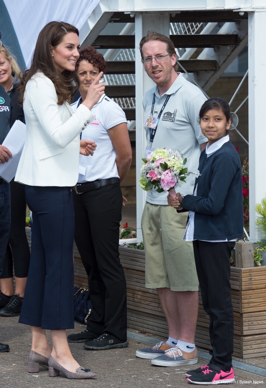Kate Middleton wearing the J.Crew Sailor Pants at the 1851 Trust Roadshow