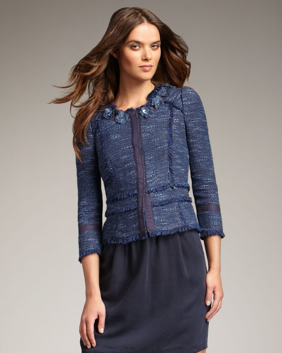 Rebecca Taylor Navy Tweed Jacket