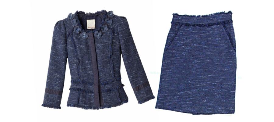 Rebecca Taylor Sparkle Tweed Skirt Suit