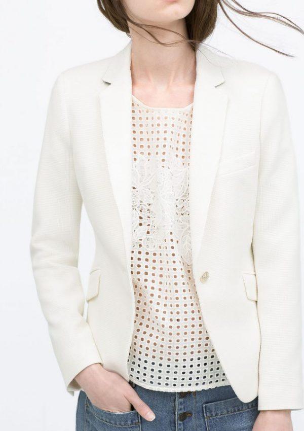 Zara Waffle Blazer in White