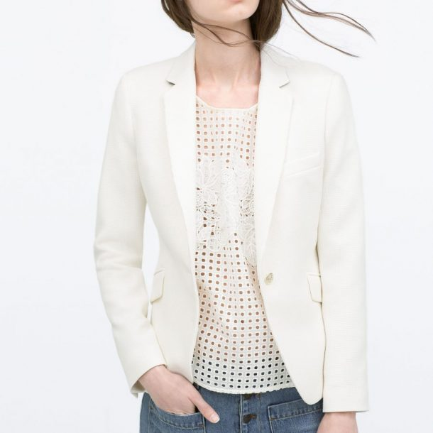 Zara Waffle Blazer in White · Kate Middleton Style Blog