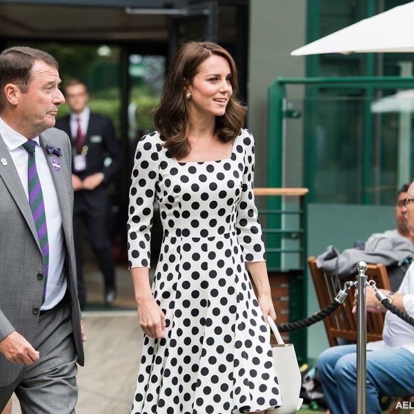 Kate wears a black & white polka dot dress to the first day of Wimbledon