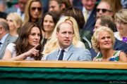 HRH The Duchess of Cambridge, left, with HRH The Duke of Cambridge in the Royal Box during the Gentlemen's Singles Final on Centre Court. The Championships 2017 at The All England Lawn Tennis Club, Wimbledon. Day 13 Sunday 16/07/2017. Credit: AELTC/Tim Clayton.