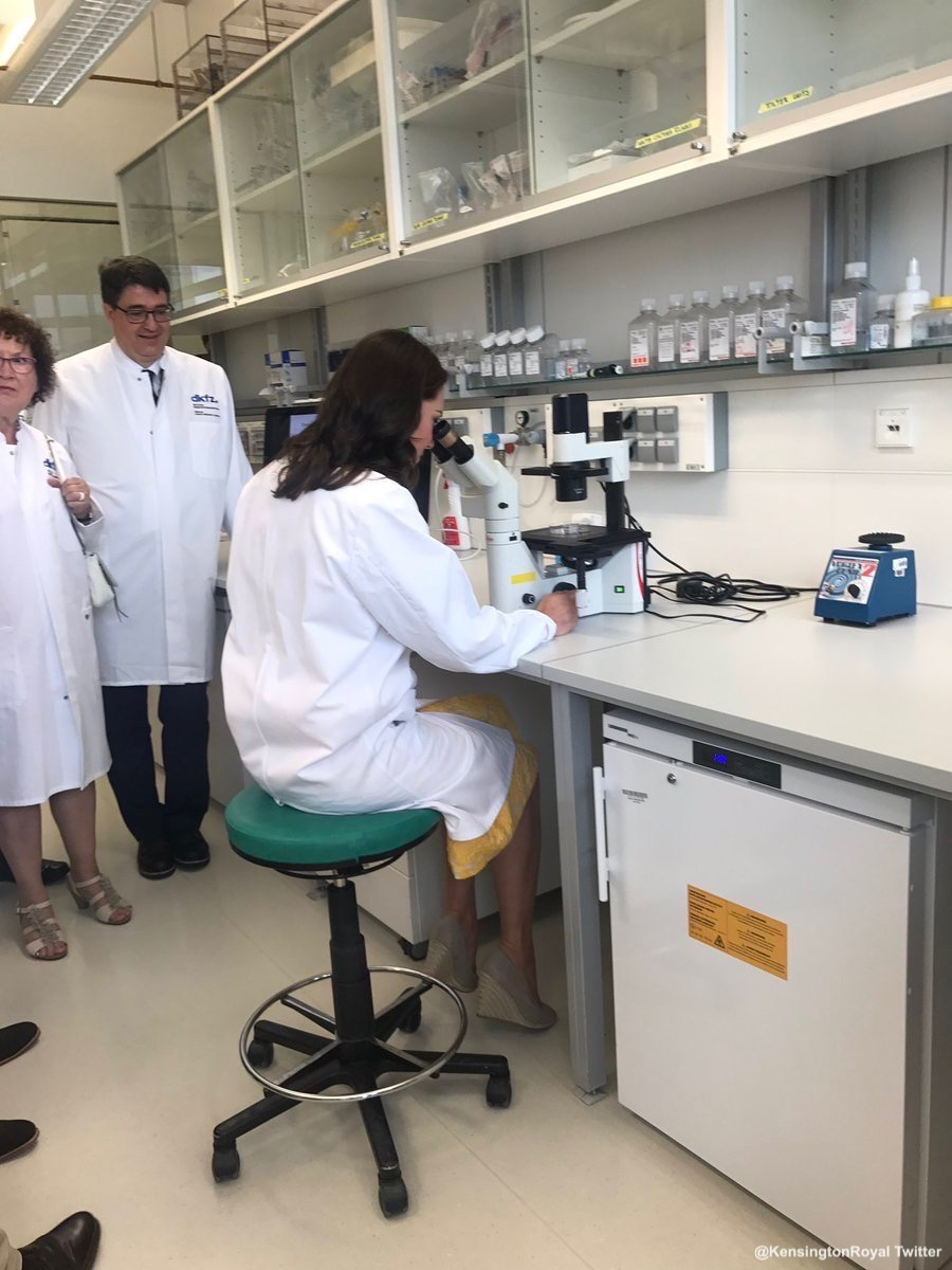 Kate Middleton testing the microscope at the Cancer Research Lab in Germany