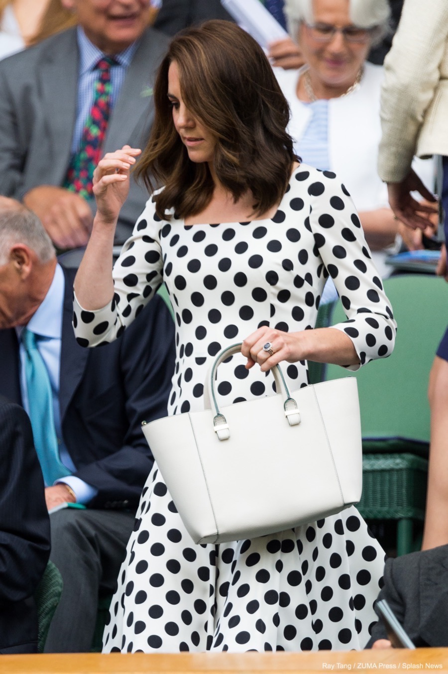 Kate middleton wears black white polka dot dress to wimbledon 2017 kate middleton carrying her victoria beckham bag ombrellifo Image collections