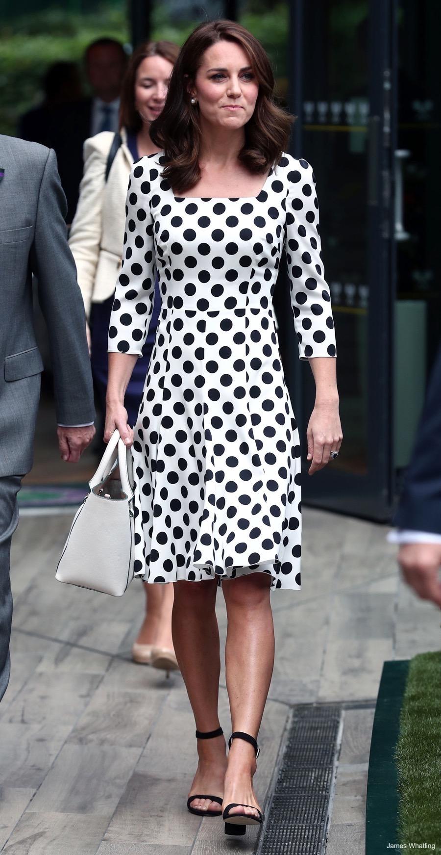 Kate Middleton wears black & white polka dot dress to ...